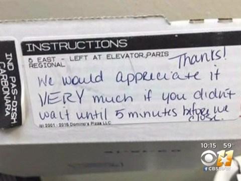 Domino's staff left 'rude' note for nurse working night shift