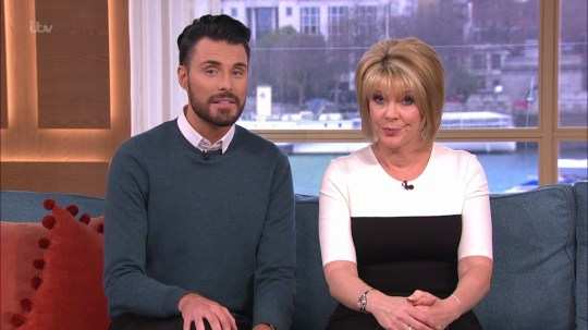 Rylan Clark-Neal and Ruth Langsford presenting 'This Morning'. Broadcast on ITV1 HD. Featuring: Rylan Clark-Neal, Ruth Langsford Where: United Kingdom When: 07 Apr 2016 Credit: Supplied by WENN **WENN does not claim any ownership including but not limited to Copyright, License in attached material. Fees charged by WENN are for WENN's services only, do not, nor are they intended to, convey to the user any ownership of Copyright, License in material. By publishing this material you expressly agree to indemnify, to hold WENN, its directors, shareholders, employees harmless from any loss, claims, damages, demands, expenses (including legal fees), any causes of action, allegation against WENN arising out of, connected in any way with publication of the material.**