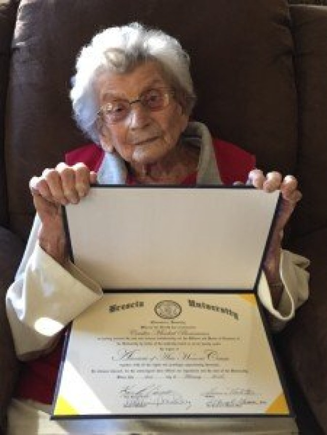 """dolly boarman Brescia University recently awarded an Associate of Arts Honoris Causa to its oldest known graduate, Cecelia """"Dolly"""" Mischel Boarman, 102, during an Alumni Visit trip to Arizona. Formerly of Owensboro, now of Prescott, Arizona, Boarman was awarded the degree 47 years after completing her last class at then Brescia College."""