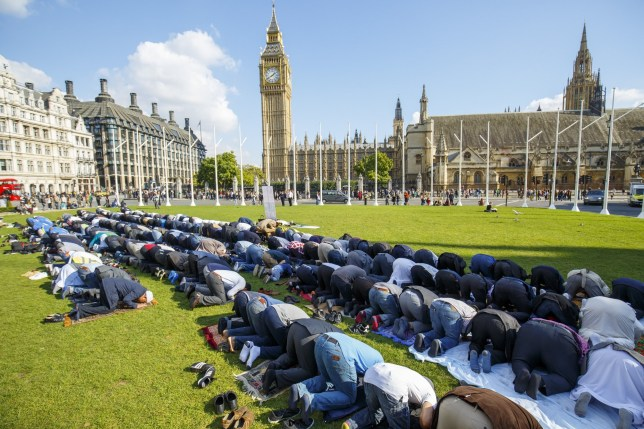LONDON, UNITED KINGDOM - OCTOBER 09: Muslims taking part at the first ever congregational Friday prayer in Parliament Square in London, England on October 9, 2015. The prayer was organised by 'Muslim Climate Action' group and it is the first time that a Jammu'ah prayer takes place in Parliament Square as a demonstration of a strong and united voice from British Muslim communities calling for change and action on climate change. (Photo by Tolga Akmen/Anadolu Agency/Getty Images)