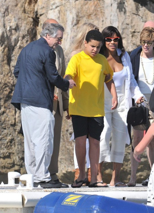 CAP D' ANTIBES, FRANCE - MAY 16: Robert De Niro with his wife Grace Hightower and his autistic son Elliot leaves Eden Roc Hotel during the 64th Cannes Film Festival on May 16, 2011 in Cap d'Antibes, France.nnPHOTOGRAPH BY ABACA / BARCROFT MEDIA LTDnnUK Office, London.nT +44 845 370 2233nW www.barcroftmedia.comnnUSA Office, New York City.nT +1 212 564 8159nW www.barcroftusa.comnnIndian Office, Delhi.nT +91 114 653 2118nW www.barcroftindia.comnnAustralasian & Pacific Rim Office, Melbourne.nE info@barcroftpacific.comnT +613 9510 3188 or +613 9510 0688nW www.barcroftpacific.com
