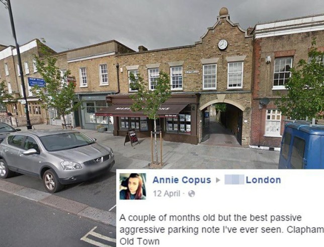 Annie Copus Shit LondonnAngry driver pins rude passive-aggressive note to windscreen of selfish parkernClapham old town