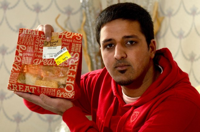 "Shamraz Razaq from Bradford, West Yorkshire who bit into a PORK roll - after thinking it was cheese and onion. See RPY story RPYPORK; Shamrez Razaq, 20, said he felt sick after chomping on the Morrisons' own savoury supermarket pastries which was clearly labelled 'cheese and onion' and 'suitable for vegetarians'. And horrified Shamrez, who had bought the pack of rolls for his family's tea, was forced snatch another roll from the same pack from his eight-year-old brother's mouth. Mr Razaq, of Bradford, West Yorks., said: ""For centuries my ancestors have not eaten pork - I can't believe this has happened."