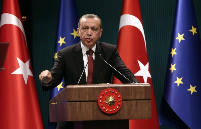 (FILES) This file photo taken on September 09, 2015 shows Turkey's President Tayyip Erdogan speaks during a joint press conference with European Council President in Ankara. The European Union needs Turkey more than Ankara needs the bloc, President Recep Tayyip Erdogan said on April 19, 2016, denouncing a new European Parliament report that was sharply critical of the rule of law in his country. His comments come amid controversy in Europe over a deal between Brussels and Turkey to stop the flow of migrants from wartorn Syria and other troubled countries to EU territory. / AFP PHOTO / ADEM ALTANADEM ALTAN/AFP/Getty Images
