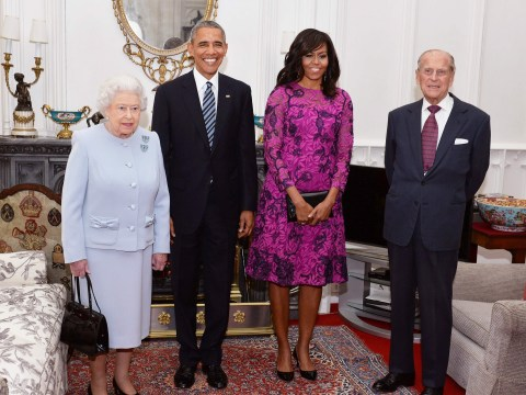 Happy birthday! The Queen meets Barack and Michelle Obama for lunch at Windsor Castle