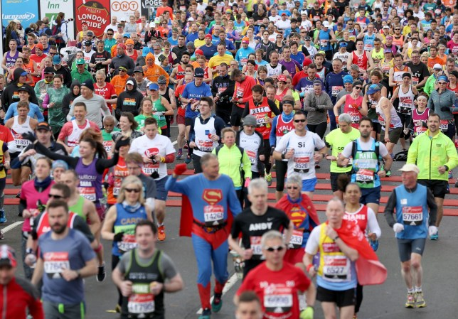 Runners make their way over the start line during the 2016 Virgin Money London Marathon. PRESS ASSOCIATION Photo. Picture date: Sunday April 24, 2016. See PA story ATHLETICS Marathon. Photo credit should read: Adam Davy/PA Wire