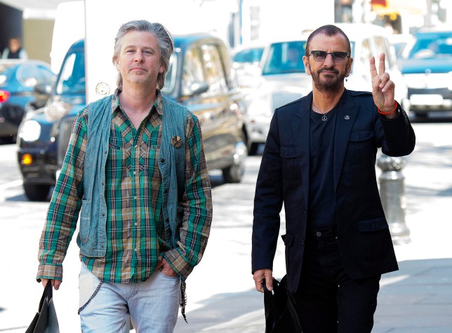 20 Apr 2016 - London - UK *** PREMIUM EXCLUSIVE - MUST CALL FOR PRICING *** Beatles drummer Ringo Starr and son Jason Starkey seen shopping together on the King's Road in Chelsea. Ringo was seen holding a bag from upmarket retailer The Kooples, while Jason had a bag from All Saints. BYLINE MUST READ : XPOSUREPHOTOS.COM ***UK CLIENTS - PICTURES CONTAINING CHILDREN PLEASE PIXELATE FACE PRIOR TO PUBLICATION *** **UK CLIENTS MUST CALL PRIOR TO TV OR ONLINE USAGE PLEASE TELEPHONE 442083442007**