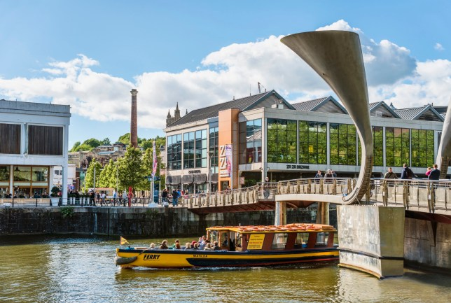 BRISTOL, SOMERSET, UNITED KINGDOM - 2015/05/29: Pero`s Bridge at the Millenium Square Landing in the Floating Harbour of Bristol, England (EDITORS NOTE: A polarizing filter was used for this image.). (Photo by Olaf Protze/LightRocket via Getty Images)