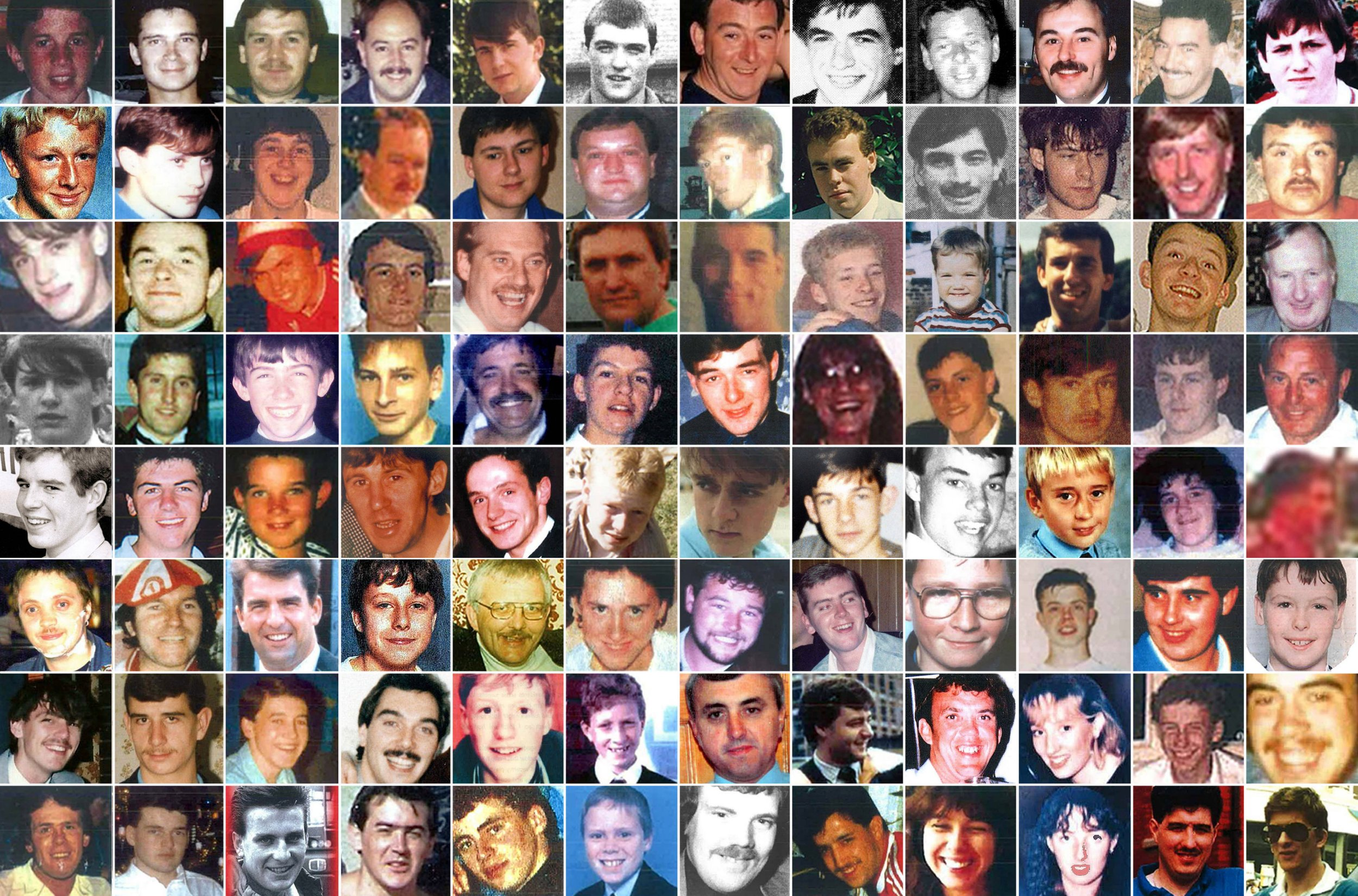 The full list of the victims of the Hillsborough disaster (top row left to right) Adam Edward Spearritt, Alan Johnston, Alan McGlone, Andrew Mark Brookes, Anthony Bland, Anthony Peter Kelly, Arthur Horrocks, Barry Glover, Barry Sidney Bennett, Brian Christopher Mathews, Carl William Rimmer, Carl Brown, (second row left to right) Carl Darren Hewitt, Carl David Lewis, Christine Anne Jones, Christopher James Traynor, Christopher Barry Devonside, Christopher Edwards, Colin Wafer, Colin Andrew Hugh William Sefton, Colin Mark Ashcroft, David William Birtle, David George Rimmer, David Hawley, (third row left to right) David John Benson, David Leonard Thomas, David William Mather, Derrick George Godwin, Eric Hankin, Eric George Hughes, Francis Joseph McAllister, Gary Christopher Church, Gary Collins, Gary Harrison, Gary Philip Jones, Gerard Bernard Patrick Baron, (fourth row left to right) Gordon Rodney Horn, Graham John Roberts, Graham John Wright, Henry Charles Rogers, Henry Thomas Burke, Ian David Whelan, Ian Thomas Glover, Inger Shah, James Gary Aspinall, James Philip Delaney, James Robert Hennessy, John Alfred Anderson, (fifth row left to right) John McBrien, Jonathon Owens, Jon-Paul Gilhooley, Joseph Clark, Joseph Daniel McCarthy, Keith McGrath, Kester Roger Marcus Ball, Kevin Daniel Williams, Kevin Tyrrell, Lee Nicol, Marian Hazel McCabe, Martin Kevin Traynor, (sixth row left to right) Martin Kenneth Wild, Michael David Kelly, Nicholas Peter Joynes, Nicholas Michael Hewitt, Patrick John Thompson, Paula Ann Smith, Paul Anthony Hewitson, Paul David Brady, Paul Brian Murray, Paul Clark, Paul William Carlile, Peter Andrew Harrison, (seventh row left to right) Peter Andrew Burkett, Peter Francis Tootle, Peter McDonnell, Peter Reuben Thompson, Philip Hammond, Philip John Steele, Raymond Thomas Chapman, Richard Jones, Roy Harry Hamilton, Sarah Louise Hicks, Simon Bell, Stephen Paul Copoc, (bottom row left to right) Stephen Francis Harrison, Stephen Francis O'Neill, Steven Joseph Robinson, David Steven Brown, Stuart Paul William Thompson, Thomas Anthony Howard, Thomas Howard , Thomas Steven Fox, Tracey Elizabeth Cox, Victoria Jane Hicks, Vincent Michael Fitzsimmons and William Roy Pemberton. The jury's conclusions on the fresh Hillsborough inquests will be delivered on Tuesday. PRESS ASSOCIATION Photo. Issue date: Tuesday April 26, 2016. See PA story INQUEST Hillsborough Victims. Photo credit should read: Hillsborough Inquests/PA Wire NOTE TO EDITORS: This handout photo may only be used in for editorial reporting purposes for the contemporaneous illustration of events, things or the people in the image or facts mentioned in the caption. Reuse of the picture may require further permission from the copyright holder.