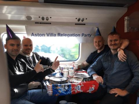 Aston Villa trolled as Birmingham City fans throw 'relegation party' on a train