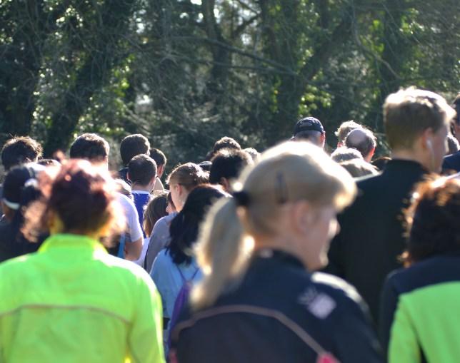 C1K683 Runners assembled at the start of Brueton parkrun, Solihull, UK
