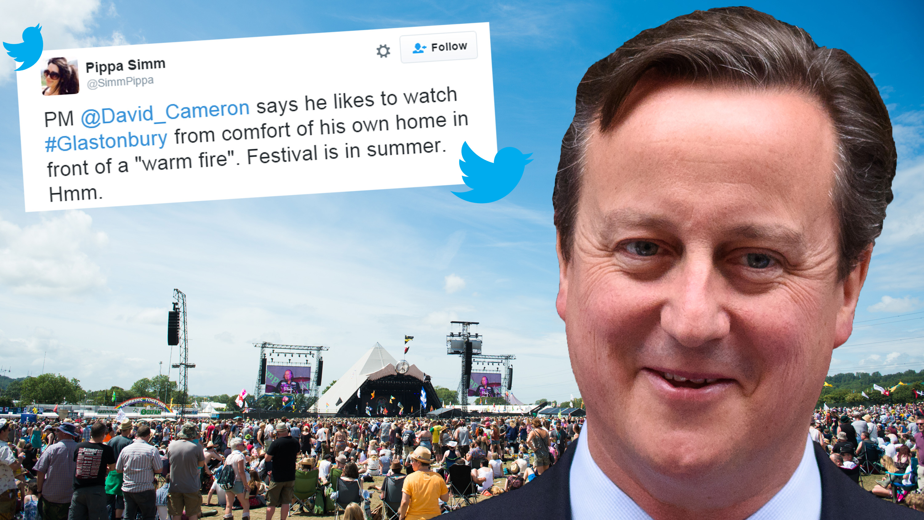 David Cameron likes to watch Glastonbury 'in front of a warm fire'. In June.
