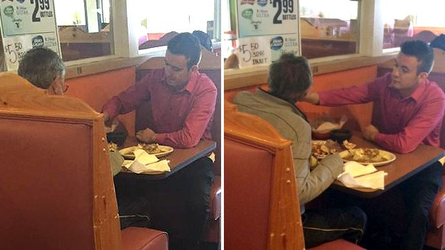 Waiter does something extraordinary for diner with no hands