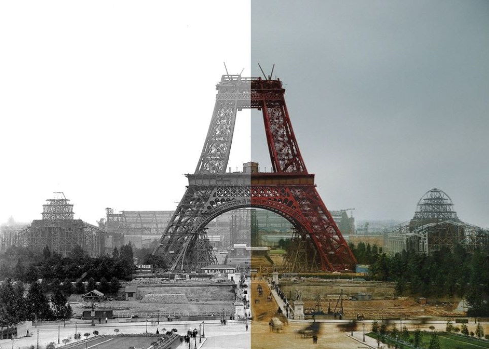 The Eiffel Tower's original red paint can be seen in this colour recreation (Picture: Getty/Dynamichrome)