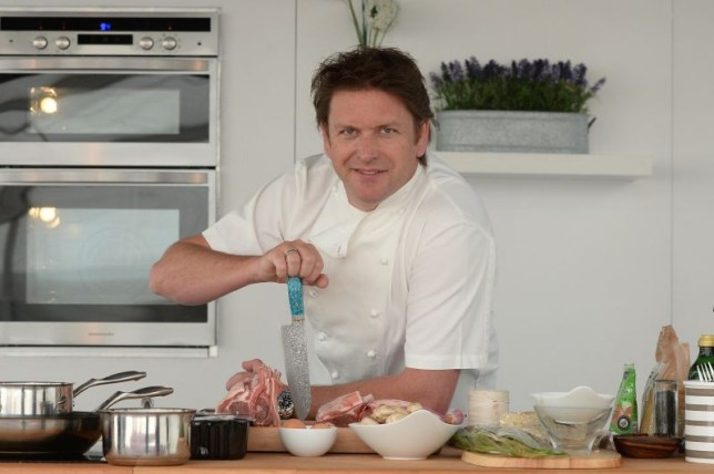 TV celebrity chef James Martin giving cookery demonstration at Media City, Manchester. Image shot 2014. Exact date unknown. F89929