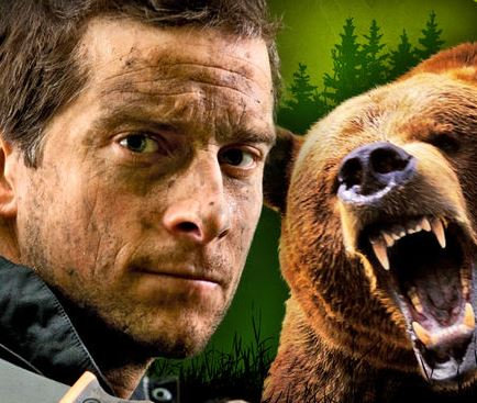 How did Bear Grylls react when he was attacked by a (man dressed as a) bear?