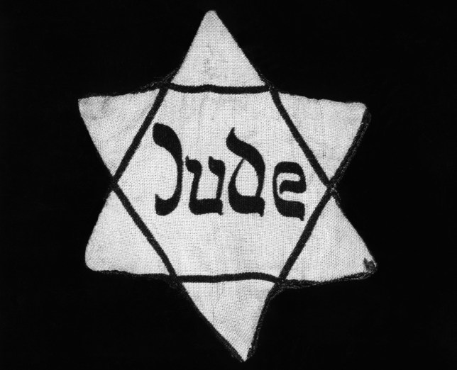 (Original Caption) Star of David patch the Jews were forced to wear in Nazi, Germany. Undated photograph.