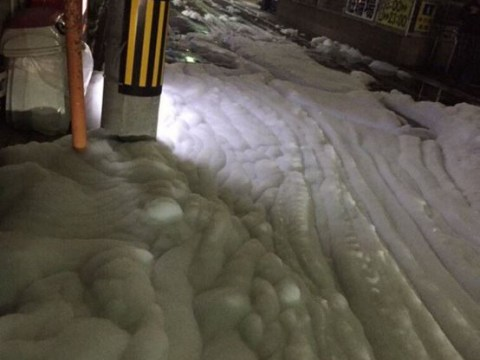 Strange foam appears on Japanese street after earthquakes