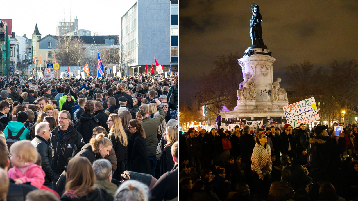 Protests in Iceland and Paris over Panama Papers leak