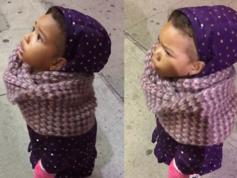 Little girl is absolutely furious with the sun for going down and it's adorable