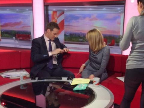 BBC Breakfast rudely interrupted as Dan Walker and Louise Minchin's guest URINATES on the sofa