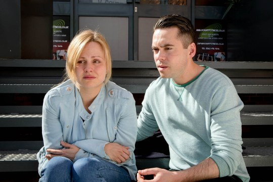 FROM ITV STRICT EMBARGO - No Use Before Sunday 22 May 2016 Coronation Street - Ep 8918 Friday 3 June 2016 - 1st Ep Todd Grimshaw [BRUNO LANGLEY] implores Sarah Platt [TINA OÕBRIEN] to confide in him and is baffled when Sarah lets slip that she saw CallumÕs dead body. Todd humours Sarah and promises to keep her confidence and asks who killed him. ToddÕs eyes widen in shock as Sarah whispers her reply in his ear. Picture contact: david.crook@itv.com on 0161 952 6214 Photographer - Mark Bruce This photograph is (C) ITV Plc and can only be reproduced for editorial purposes directly in connection with the programme or event mentioned above, or ITV plc. Once made available by ITV plc Picture Desk, this photograph can be reproduced once only up until the transmission [TX] date and no reproduction fee will be charged. Any subsequent usage may incur a fee. This photograph must not be manipulated [excluding basic cropping] in a manner which alters the visual appearance of the person photographed deemed detrimental or inappropriate by ITV plc Picture Desk. This photograph must not be syndicated to any other company, publication or website, or permanently archived, without the express written permission of ITV Plc Picture Desk. Full Terms and conditions are available on the website www.itvpictures.com