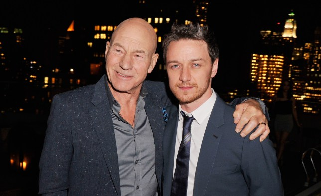 "NEW YORK, NY - MAY 19: Actors Patrick Stewart and James McAvoy attend the after party for a screening of ""Filth"" hosted by Magnolia Pictures and The Cinema Society at Landmark Sunshine Cinema on May 19, 2014 in New York City. (Photo by Stephen Lovekin/Getty Images)"