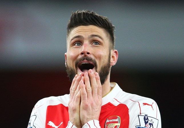 LONDON, ENGLAND - FEBRUARY 02: Olivier Giroud of Arsenal reacts during the Barclays Premier League match between Arsenal and Southampton at the Emirates Stadium on February 2, 2016 in London, England. (Photo by Paul Gilham/Getty Images)
