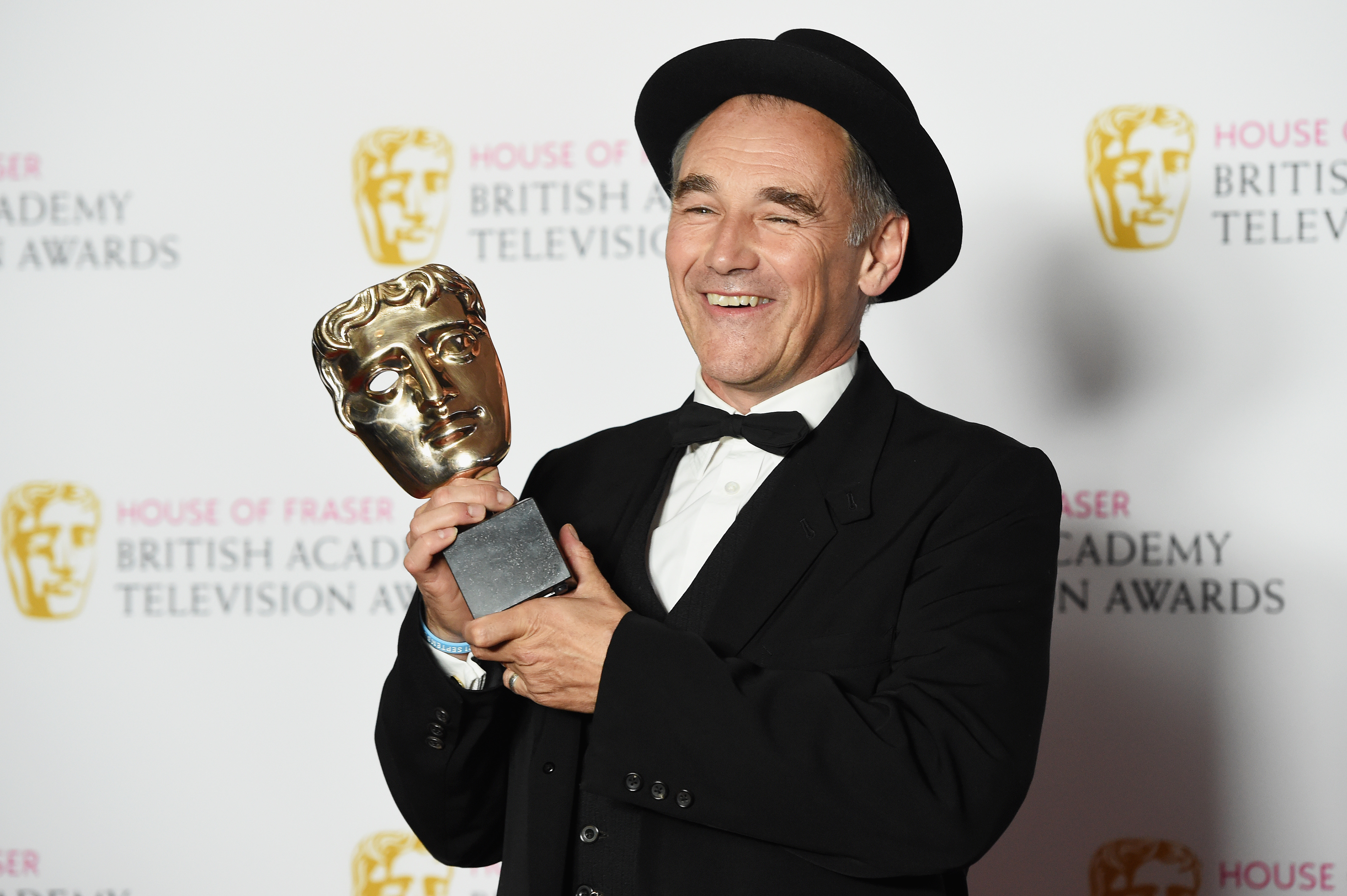 LONDON, ENGLAND - MAY 08: Mark Rylance, winner of the Leading Actor award for 'Wolf Hall', poses in the Winners room at the House Of Fraser British Academy Television Awards 2016 at the Royal Festival Hall on May 8, 2016 in London, England. (Photo by Stuart C. Wilson/Getty Images)