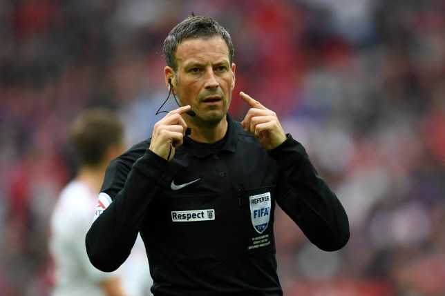 LONDON, ENGLAND - MAY 21: Referee Mark Clattenburg signals during The Emirates FA Cup Final match between Manchester United and Crystal Palace at Wembley Stadium on May 21, 2016 in London, England. (Photo by Mike Hewitt/Getty Images)