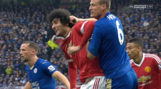 ****Ruckas Videograbs**** (01322) 861777 *IMPORTANT* Please credit Sky Sports for this picture. 01/05/16 Man Utd v Leicester City More grabs from the Fellaini on Huth elbow Office (UK) : 01322 861777 Mobile (UK) : 07742 164 106 **IMPORTANT - PLEASE READ** The video grabs supplied by Ruckas Pictures always remain the copyright of the programme makers, we provide a service to purely capture and supply the images to the client, securing the copyright of the images will always remain the responsibility of the publisher at all times. Standard terms, conditions & minimum fees apply to our videograbs unless varied by agreement prior to publication.
