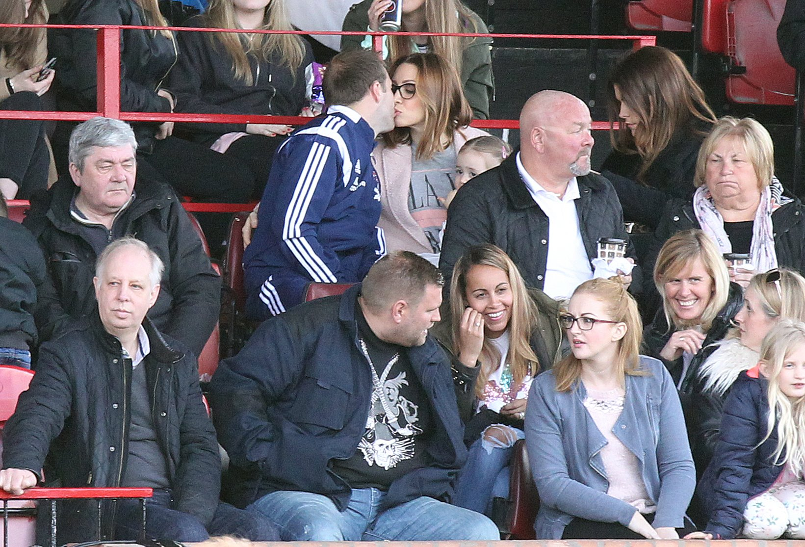 2.5.16..... The Celebrity Allstar Football Team (made up of Coronation Street, Emmerdale and Hollyoaks cast) played against an Entertainers eleven at Altrincham Football Ground on Monday afternoon..... Alan Halsall sits in the stands after going off with a hamstring injury with his wife Lucy-Jo Hudson.