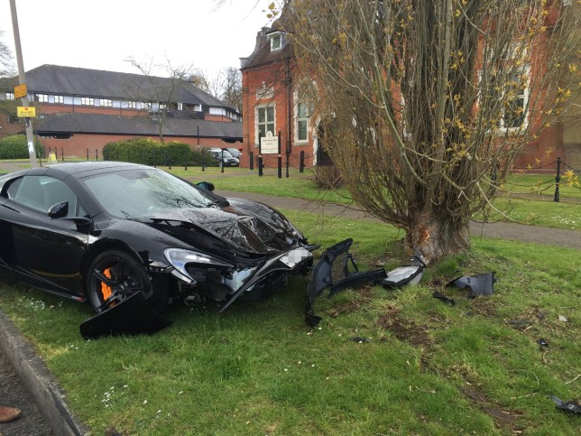 The crashed McLaren 650S Spider in Brentwood. See Masons copy MNMCLAREN: A brand new supercar worth over £200,000 ended up as a crumpled mess after it smashed into a tree Ò less than 10 minutes after it had been delivered. Residents in Hutton saw the car's owners celebrating with a bottle of champagne as the sparkling McLaren 650S Spider was unloaded last Wednesday, April 28. But only moments later the car was seen crashing into a tree in Poplar Drive in Brentwood at around 2.40pm. The McLaren 650S Spider can cost over £215,000 new, can go from 0 to 62mph in just three seconds and has a top speed of 204mph.