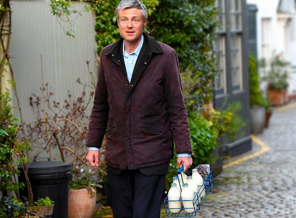 As London woke this morning, Zac Goldsmith was 12 hours into a campaign marathon, joining milkman Dominic Gilham on his early delivery round. In Kynance Mews in Kensington, Alison Mould, 50, was given a shock when she saw the mayoral hopeful leaving two bottles of semi-skimmed on her doorstep, along with a BackZac campaign flyer.nìI was cross with the noise outside but then I looked and realised who it was. It was just bizarre,î she explained, adding: ìHe was very sweet.î The Conservative Party Mayoral Candidate Zac Goldsmith on his 24 hour Mayoral election campaign around London. Zac Goldsmith on a milk round in Kensington n© Evening Standard / eyevinenContact eyevine for more information about using this image:nT: +44 (0) 20 8709 8709nE: info@eyevine.comnhttp://www.eyevine.comn