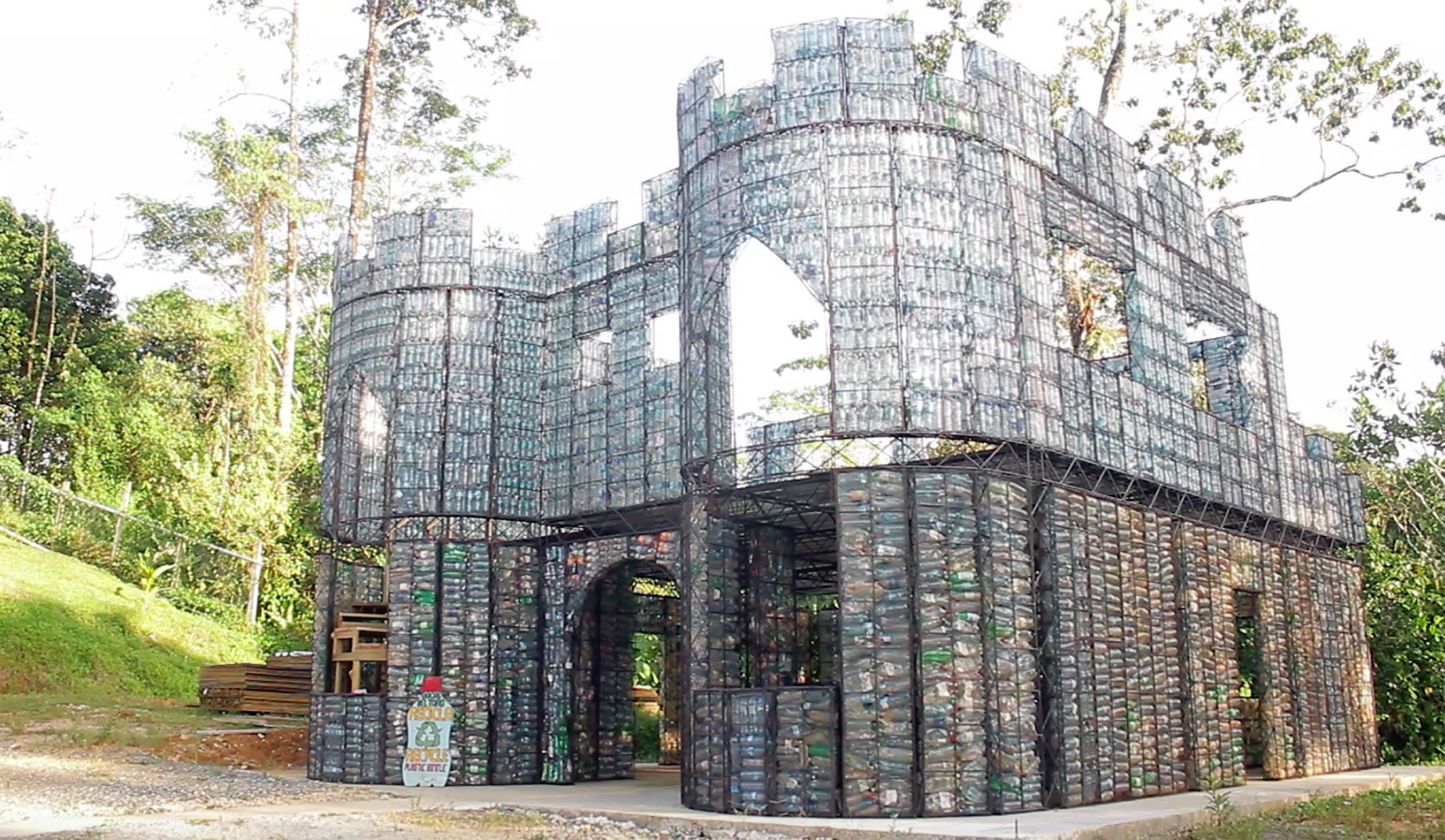 A village made entirely out plastic bottles is being built in Panama