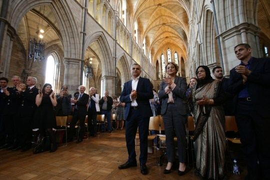 Sadiq Khan with wife Saadiya in Southwark Cathedral for the signing ceremony for the newly elected Mayor of London. PRESS ASSOCIATION Photo. Issue date: Saturday May 7, 2016. See PA story POLITICS Elections London. Photo credit should read: Yui Mok/PA Wire