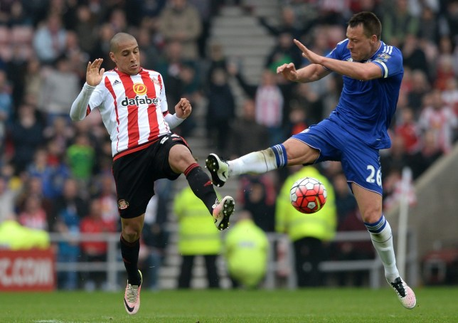 SUNDERLAND, ENGLAND - MAY 07: John Terry of Chelsea fouls Wahbi Khazri of Sunderland resutling in the second yellow card during the Barclays Premier League match between Sunderland and Chelsea at the Stadium of Light on May 7, 2016 in Sunderland, United Kingdom. (Photo by Gareth Copley/Getty Images)