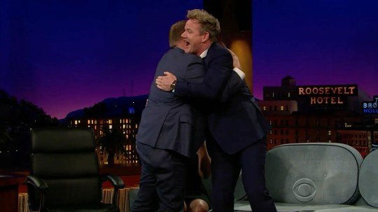 ****Ruckas Videograbs**** (01322) 861777 *IMPORTANT* Please credit CBS for this picture. 13/05/16 The Late Late Show with James Corden Grabs from last night's show which saw chef Gordon Ramsay annuncing that he and his wife Tana are expecting their fifth child. He announced that Tana is pregnant and that the baby is due in September. Office (UK) : 01322 861777 Mobile (UK) : 07742 164 106 **IMPORTANT - PLEASE READ** The video grabs supplied by Ruckas Pictures always remain the copyright of the programme makers, we provide a service to purely capture and supply the images to the client, securing the copyright of the images will always remain the responsibility of the publisher at all times. Standard terms, conditions & minimum fees apply to our videograbs unless varied by agreement prior to publication.