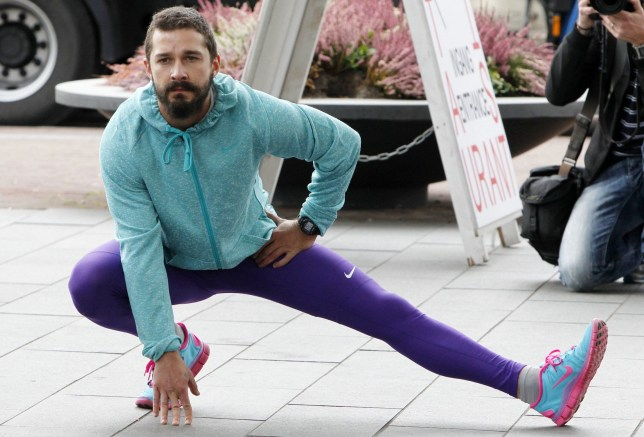 Mandatory Credit: Photo by Beretta/Sims/REX/Shutterstock (4121540j) Shia LaBeouf Shia Labeouf Runs Around the Stedelijk Museum as Part of Metamodernism Symposium, Amsterdam, Netherlands - 25 Sep 2014 He's no stranger to offbeat arty stunts and today Shia LaBeouf took part in another one when he ran a 'metamarathon' around the Stedelijk Museum in Amsterdam. The event was billed as 'a collaborative project' by LaBeouf and artists Nastja S¿de R^nkk^ and Luke Turner and was described as 'a multi-platform meditation on celebrity and vulnerability'. The actor completed the performance art, which he has been promoting on Twitter in the run up to the event, wearing a pair of tight-fighting purple leggings, a blue hoody and a green vest-top.