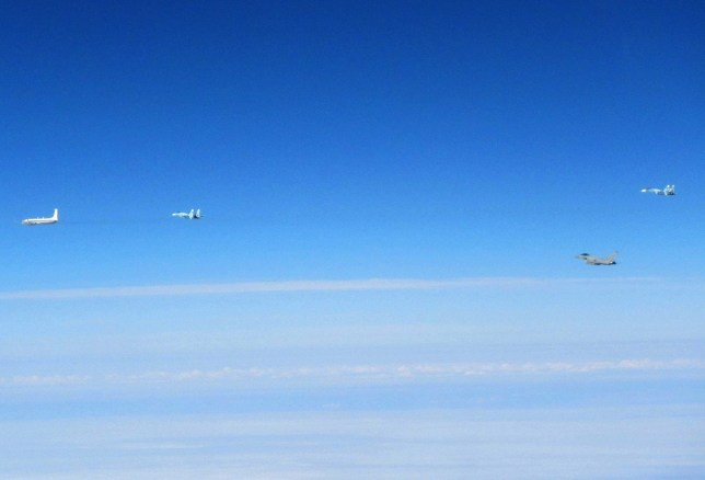 epa05312450 A handout image made available by the British Royal Air Force showing aircraft from L-R: Russian Coot-A communications aircraft; Russian Su-27 Flanker fighter; RAF Typhoon; Russian Su-27, near Estonia, 17 May 2016. Royal Air Force Typhoons stationed in Estonia as part of the NATO Baltic Air Policing mission have scrambled for the second time during their current deployment to intercept Russian aircraft in NATO's area of interest. The Russian aircraft - identified as four Su-27 Flanker fighters and one Coot-A communications aircraft - were not communicating with air traffic control, and did not transmit a recognised identification code.  EPA/BRITISH MINISTRY OF DEFENSE / HA MANDATORY CREDIT: CROWN COPYRIGHT HANDOUT EDITORIAL USE ONLY/NO SALES