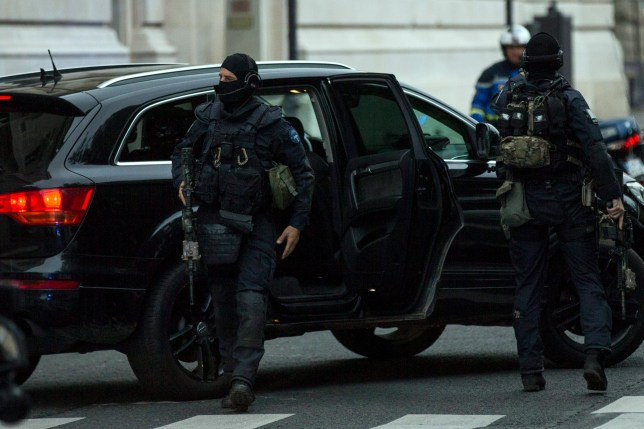 epa05318382 A French military task force GIGN secures the convoy transporting Paris attacks suspect Salah Abdeslam (unseen) arrives at the Palais de Justice at the 36, Quai des Orfevres where he is to appear before the French prosecutors in charge of the affair, in Paris, France, 20 May 2016. Salah Abdeslam was handed over by Belgium to French authorities to face prosecution in relation to the Paris terror attacks on 13 November 2015. EPA/ETIENNE LAURENT