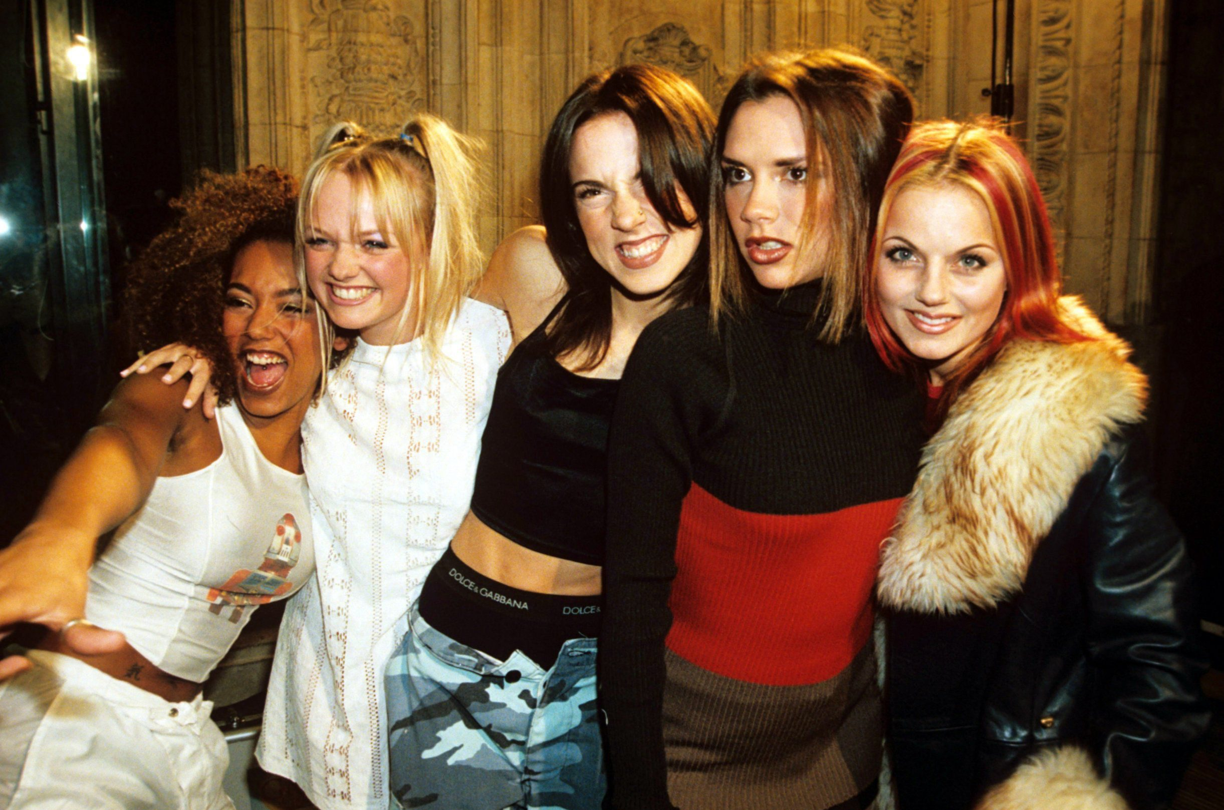 Mandatory Credit: Photo by Richard Young/REX/Shutterstock (264386bs) Spice Girls - Mel B, Emma Bunton, Mel C, Victoria Adams and Geri Halliwell NATIONAL TELEVISION AWARDS, LONDON, BRITAIN - 1996