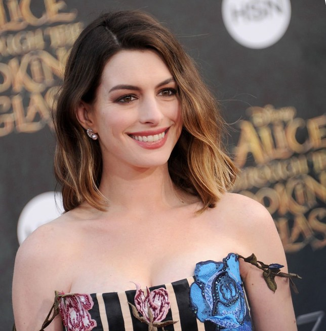 "HOLLYWOOD, CA - MAY 23: Actress Anne Hathaway arrives at the premiere of Disney's ""Alice Through The Looking Glass"" at the El Capitan Theatre on May 23, 2016 in Hollywood, California. (Photo by Gregg DeGuire/WireImage)"