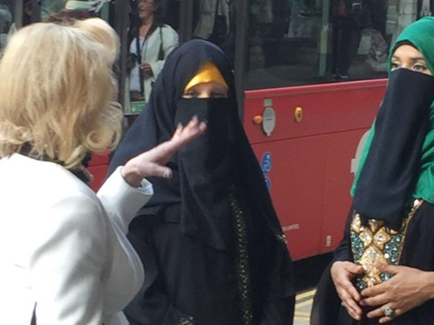 Anne Robinson took to the streets of London on Tuesday wearing a burqa