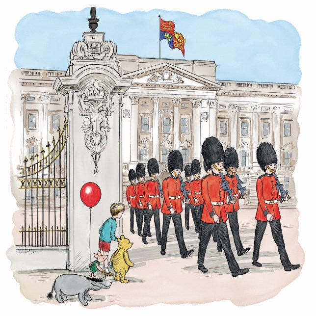 Embargoed to 0001 Thursday May 26 Handout image issued by Disney of an illustration by Mark Burgess of Winnie-the-Pooh outside Buckingham Palace from a new adventure story which sees the bear of very little brain meet the Queen for the first time that has been released to celebrate both of their 90th birthdays. PRESS ASSOCIATION Photo. Issue date: Thursday May 26, 2016.The illustrated story called Winnie-The-Pooh And The Royal Birthday, plus an audio video version narrated by Oscar winning actor Jim Broadbent, sees Pooh travel to Buckingham Palace with Christopher Robin, Piglet and Eeyore to deliver a special present to the 90-year-old monarch. A free ebook and animated story are available to download from www.Disney.co.uk/WinnieRoyalBirthday. See PA story ROYAL Pooh. Photo credit should read: Disney/PA Wire NOTE TO EDITORS: This handout photo may only be used for editorial reporting purposes for the contemporaneous illustration of events, things or the people in the image or facts mentioned in the caption. Reuse of the picture may require further permission from the copyright holder.