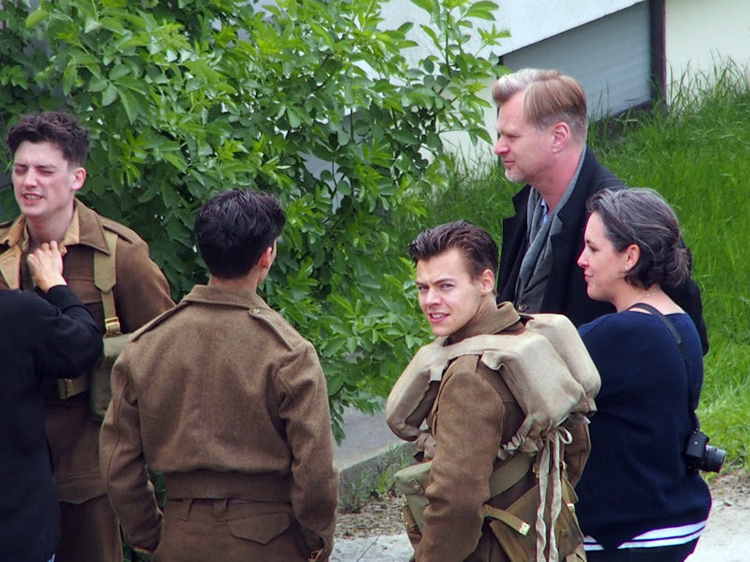 EXCLUSIVE PICTURE: MATRIXPICTURES.CO.UK PLEASE CREDIT ALL USES UK RIGHTS ONLY ***MINIMUM REPRODUCTION FEE £1,000 PER PAPER AND £1,000 PER WEBSITE*** English singer, songwriter and actor Harry Styles and English-American film director, screenwriter, and producer Christopher Nolan are seen filming scenes on the set of the new Christopher Nolan movie, Dunkirk, in France. The One Direction star sports a military-appropriate haircut for the role, which sees him playing a soldier during the Second World War. The film will also star Tom Hardy, Cillian Murphy, Mark Rylance and Kenneth Branagh. MAY 25th 2016 REF: MXP 161558