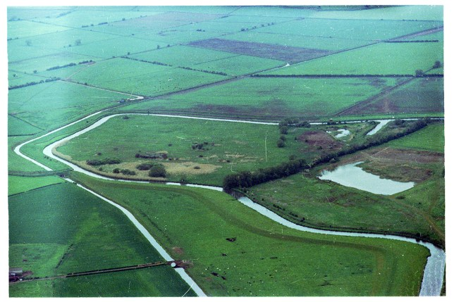 CEBW6G Oblique aerial view at an altitude of 2500ft of pulfin bog on the River Hull in east Yorkshire, also showing Barmston drain Credit: Alamy