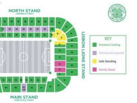 Celtic release map showing they'll have safe standing area for 2016/17 season