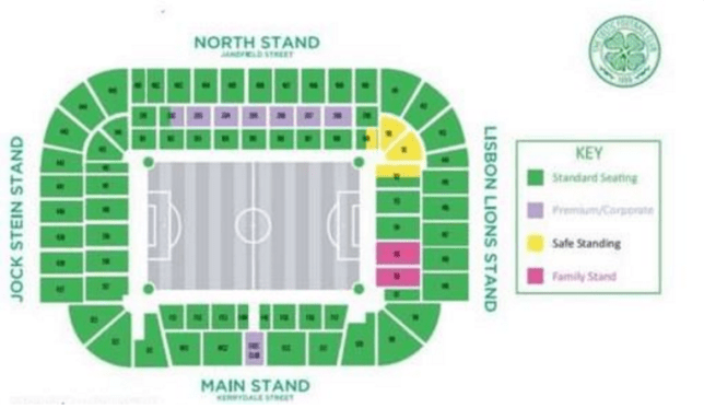 Celtic release map showing they'll have safe standing area for 2016 on