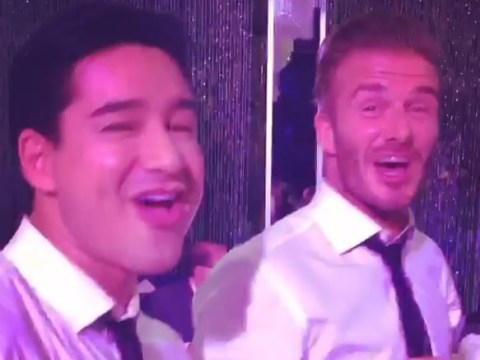 David Beckham and Mario Lopez dad dance to Rick Astley at Eva Longoria's wedding